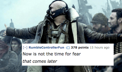 Photo caption - [-] RumbleControllerFun 378 points 15 hours ago Now is not the time for fear that comes later