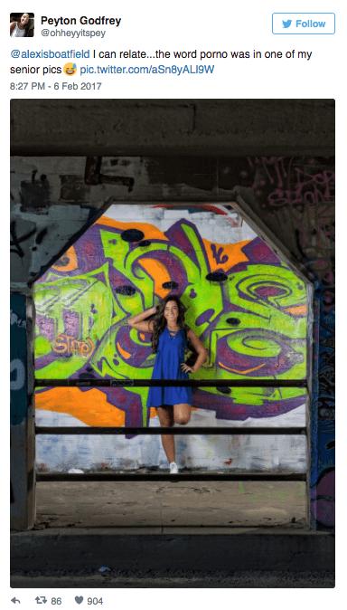 Street art - Peyton Godfrey @ohheyyitspey Follow @alexisboatfield I can relate...the word porno was in one of my senior pics pic.twitter.com/aSn8yALI9W 8:27 PM-6 Feb 2017 t 86 904