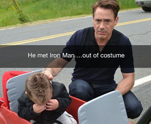 Sitting - He met Iron Man...out of costume