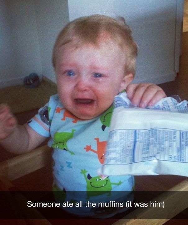 Child - Someone ate all the muffins (it was him) tirater
