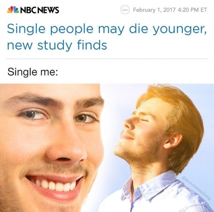 Face - February 1, 2017 4:20 PM ET Single people may die younger, new study finds NBCNEWS Single me: @punchbowlboy