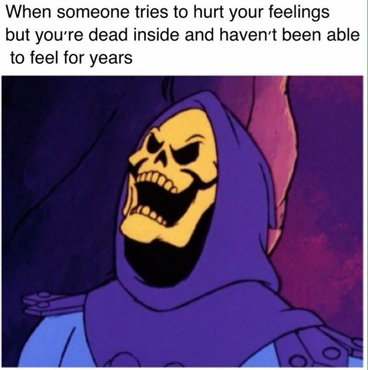 Cartoon - When someone tries to hurt your feelings but yourre dead inside and haven't been able to feel for years