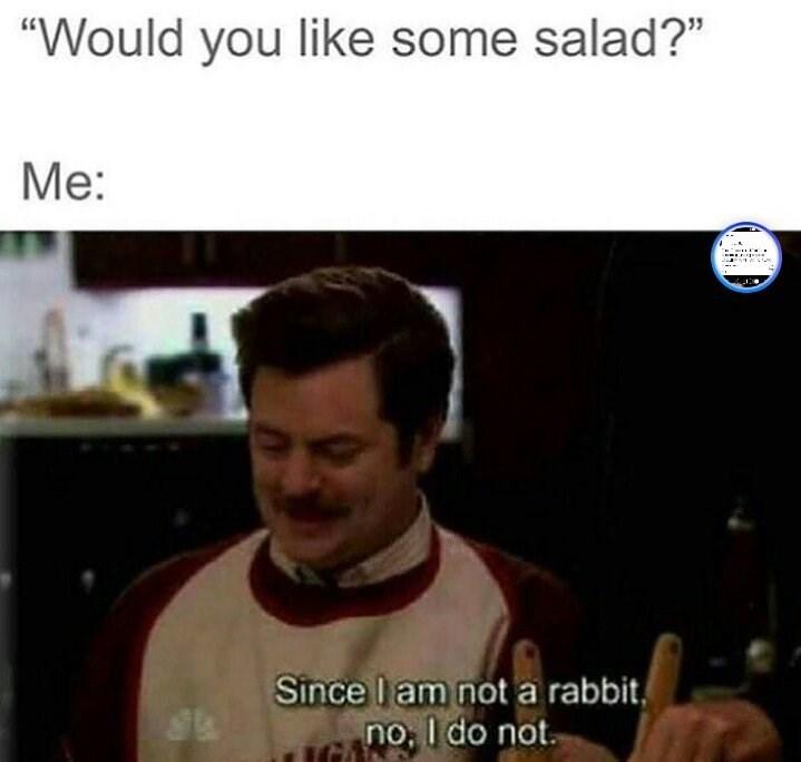 "Photo caption - ""Would you like some salad?"" Me: J 1 Since l am not a rabbit no, I do not"