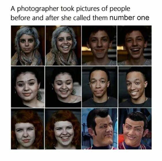 Face - photographer took pictures of people before and after she called them number one