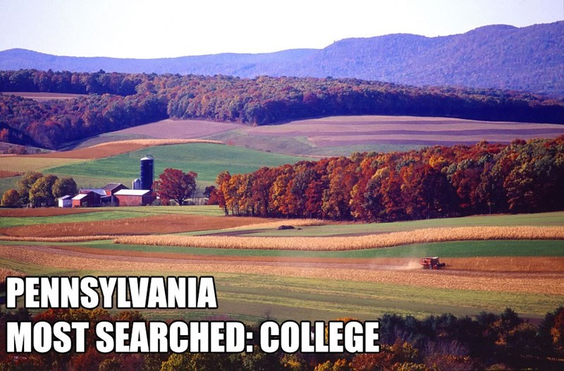 Most Searched Porn Term - Natural landscape - PENNSYLVANIA MOST SEARCHED: COLLEGE