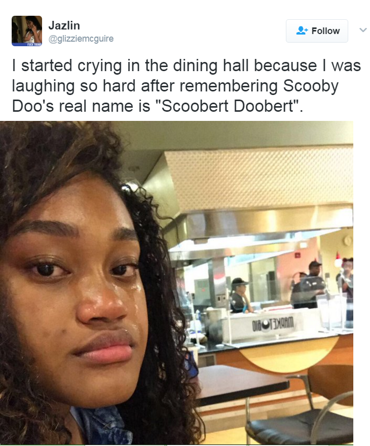 """Hair - Jazlin Follow @glizziemcguire I started crying in the dining hall because I laughing so hard after remembering Scooby Doo's real name is """"Scoobert Doobert"""" DiiOTEDMANM"""