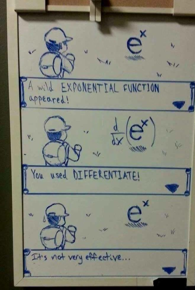 Text - e A wild EXPONENTIAL FUNCTION appeared! e' You used 0IFFERENTIATE! effective... TA's not very