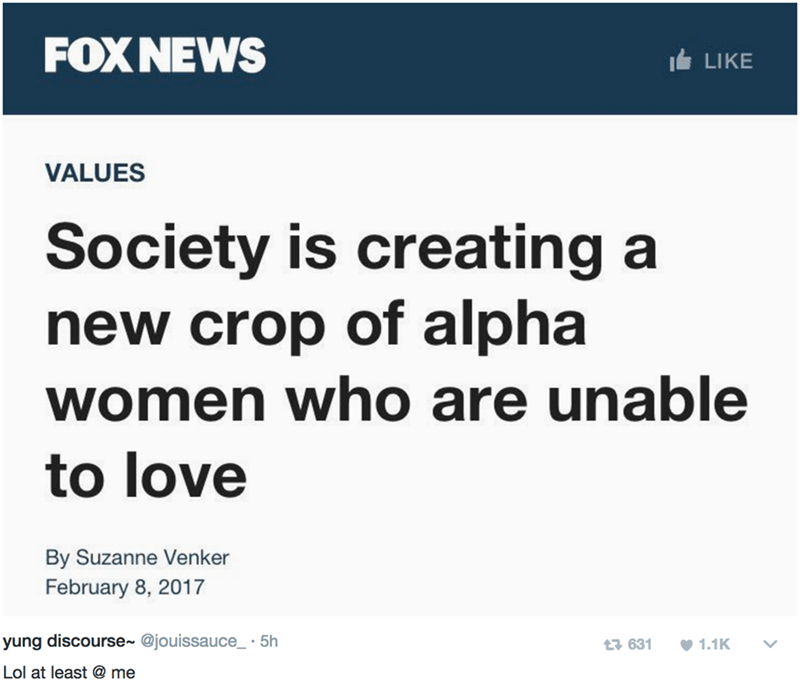 Text - FOX NEWS LIKE VALUES Society is creating a new crop of alpha women who are unable to love By Suzanne Venker February 8, 2017 yung discourse~ @jouissauce_ 5h t3 631 1.1K Lol at least @ me