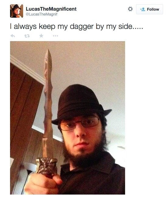 Selfie - LucasTheMagnificent Follow @LucasTheMagnif I always keep my dagger by my side..