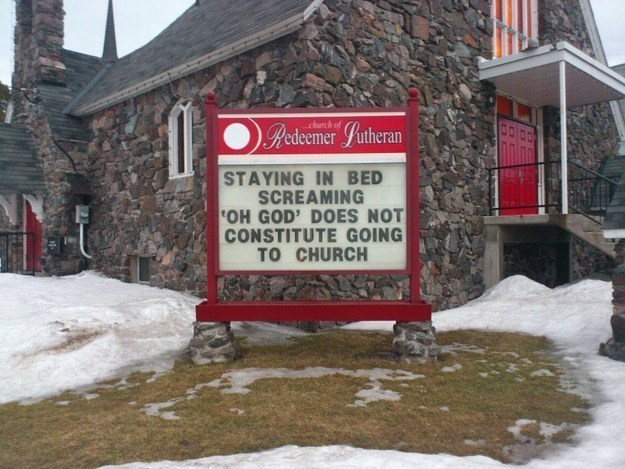 Snow - Rebeemer Lutheran church of STAYING IN BED SCREAMING OH GOD' DOES NOT CONSTITUTE GOING TO CHURCH