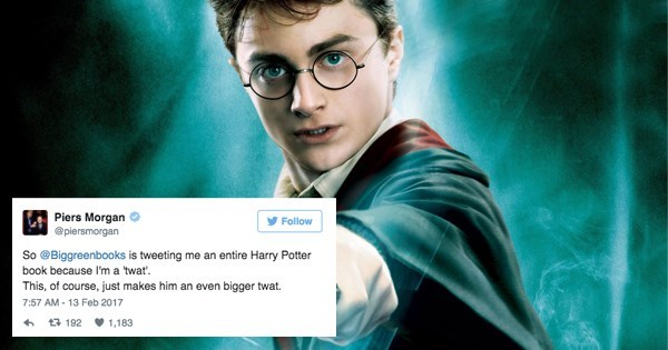win bookstore trolls piers morgan harry potter
