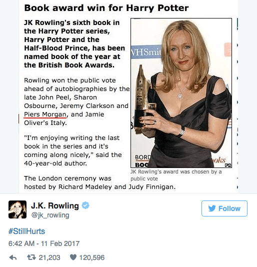 "Text - Book award win for Harry Potter JK Rowling's sixth book in the Harry Potter series, Harry Potter and the Half-Blood Prince, has been named book of the year at VHSmit the British Book Awards. Rowling won the public vote ahead of autobiographies by the late John Peel, Sharon Osbourne, Jeremy Clarkson and Piers Morgan, and Jamie Oliver's Italy. ""I'm enjoying writing the last book in the series and it's coming along nicely,"" said the 40-year-old author. BORD BOO ols PA JK Rowling's award was"