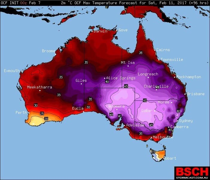 Map - 2m C OCF Max Temperature Forecast for Sat, Feb 11, 2017 (+96 hrs) OCF INIT 00z Feb 7 Gove Darwin Cairns Broome 35 Townsville 35 Mt Isa Exmouth Longreach Rockhampton J5 Alice Springs Giles 40 Charlayille 45 Meekatharra Brisbane 35 35 Moree 30 doomera 3D Eucla Cobar 40 Perth 25 45 40 20 Sydney Canberra Adelaide 45 40 35 Melbouhe Hobart BSCH STORMCAST.COM.AU