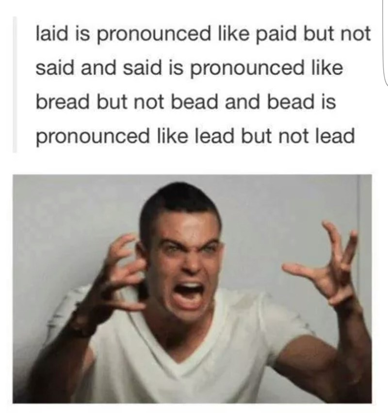 Facial expression - laid is pronounced like paid but not said and said is pronounced Ilike bread but not bead and bead is pronounced like lead but not lead