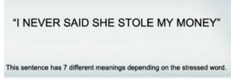 """Text - """"I NEVER SAID SHE STOLE MY MONEY"""" This sentence has 7 different meanings depending on the stressed word"""