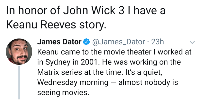 wholesome twitter story about Keanu Reeves at Sydney movie theater.