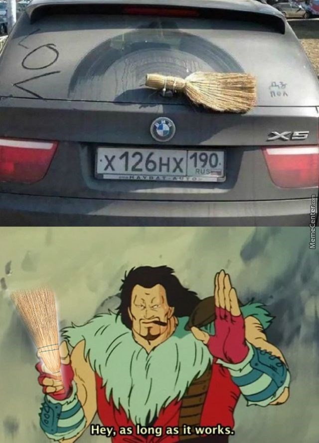 funny BMW dank meme of improvised rear view windshield wiper and cartoon saying as long as it works
