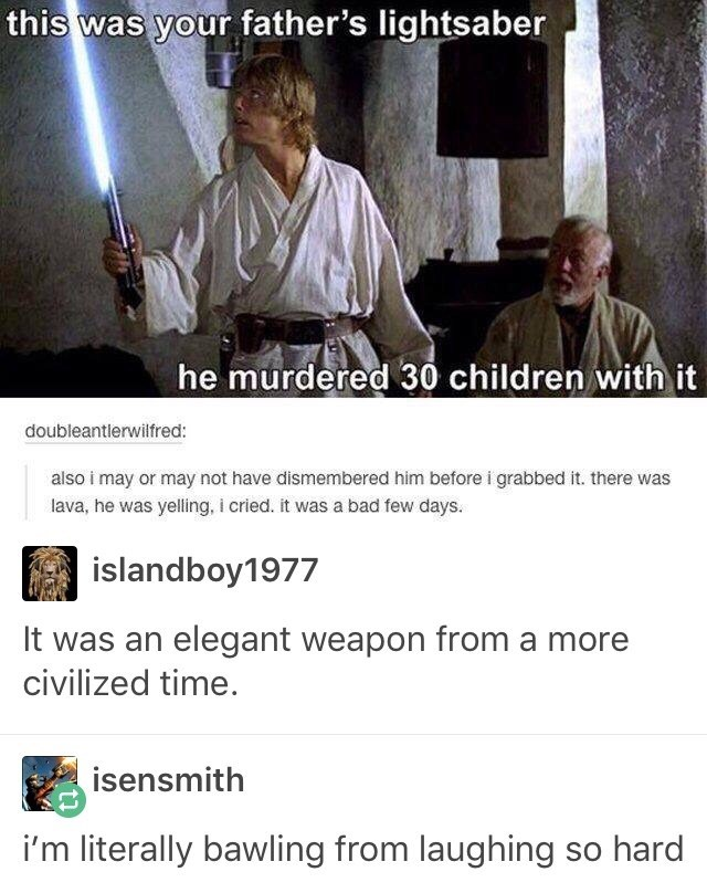 Dank meme about star wars and how the light saber killed 30 kids
