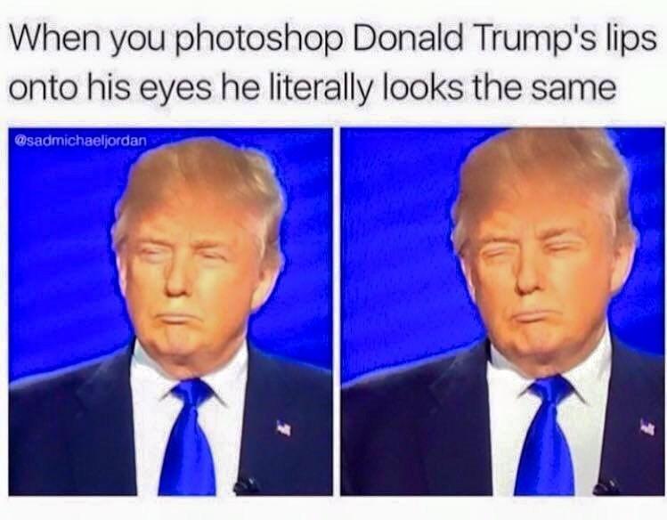 Dank meme of photoshopping Donald Trump's lips onto his eyes.