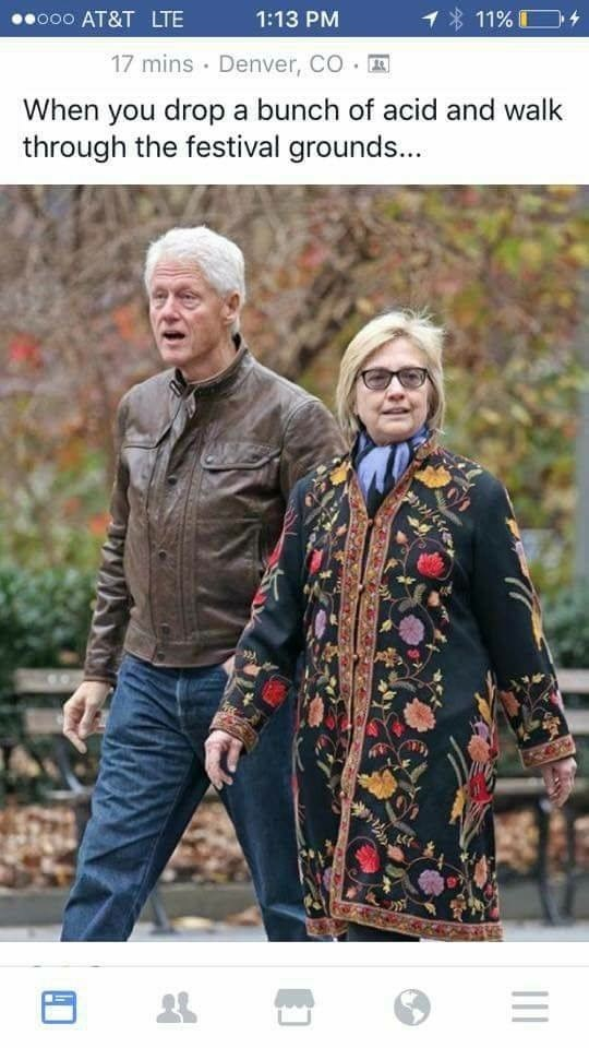 Dank meme of Hillary and Bill Clinton looking like a bunch of hippies