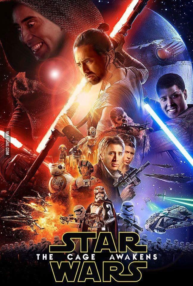 Nicolas Cage Dank Meme of a Star Wars Poster