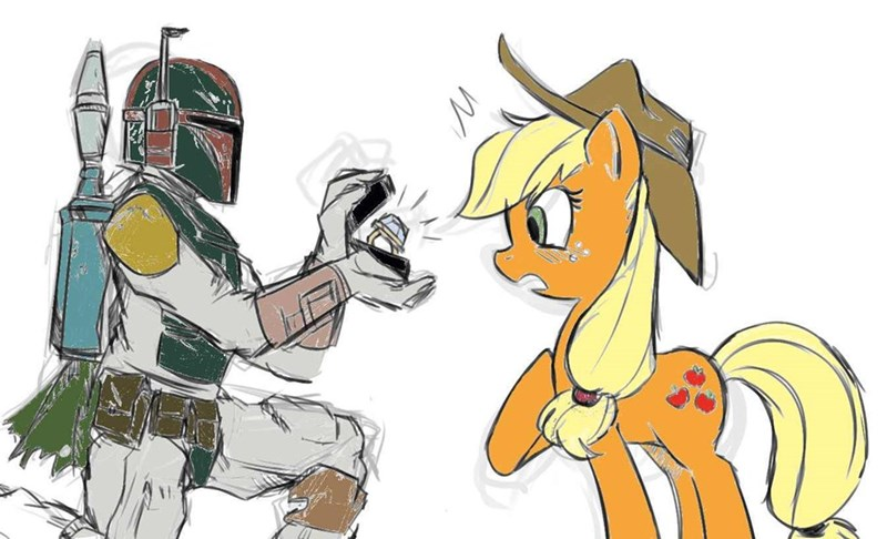 applejack star wars hearts and hooves day boba fett Valentines day - 9010405632