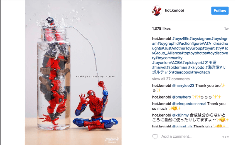 Text - Follow hot.kenobi 1w 1,378 likes hot.kenobi #toys4 life#toystagram#toyslagr am#toygraphid# actionfigure#ATA_dreadno ughts#JustAnotherToyGroup#toyartistry#To yGroup_Alliance#toptoyphotos#toydiscove ry#toycommunity #toyunion#ACBA#epictoyart # E5 #marvel#spiderman #kaiyodo # # ボルテック#deadpool#revoltech Could y ou spess up. plese view all 37 comments hot.kenobi @harrylee23 Thank you bro hot.kenobi @bmyhero hot.kenobi @brinquedosnareal Thank you so much hot.kenobi @k1ohmy 合成は分からないと ころに自然に使ったりして