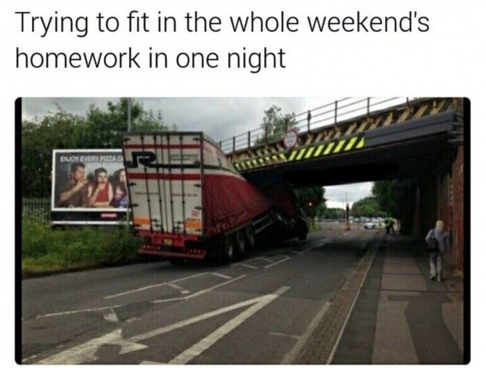 Transport - Trying to fit in the whole weekend's homework in one night ENJOY EVERY PIZZA