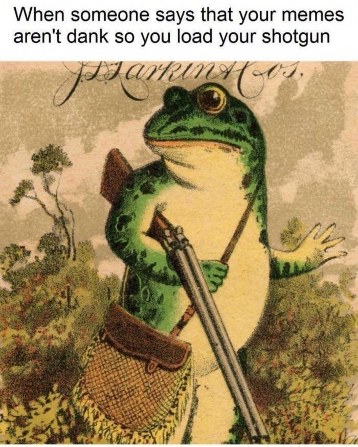 True frog - When someone says that your memes aren't dank so you load your shotgun garm