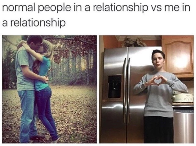 Text - normal people ina relationship vs me in a relationship