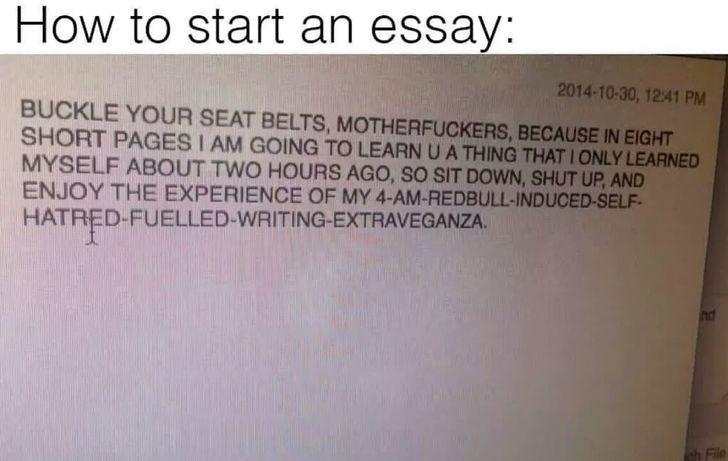 dank meme about how to start an essay