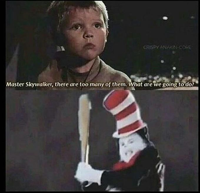 Crazy cat in the hat and Star Wars dank meme