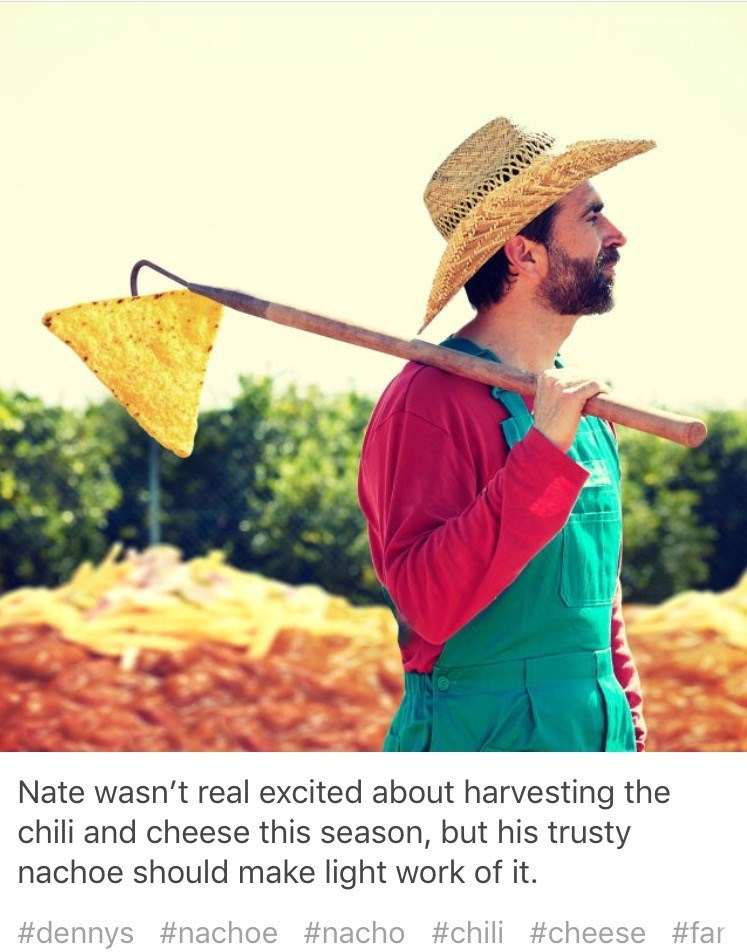Vegetarian food - ww Nate wasn't real excited about harvesting the chili and cheese this season, but his trusty nachoe should make light work of it. #dennys #nachoe #nacho #chili #cheese #far