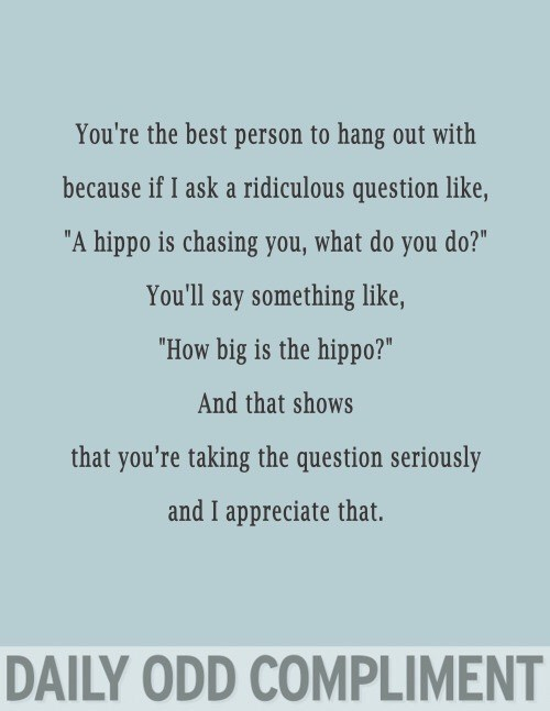 "Text - You're the best person to hang out with because if I ask a ridiculous question like, ""A hippo is chasing you, what do you do?"" You'll say something like, ""How big is the hippo?"" And that shows that you're taking the question seriously and I appreciate that. DAILY ODD COMPLIMENT"