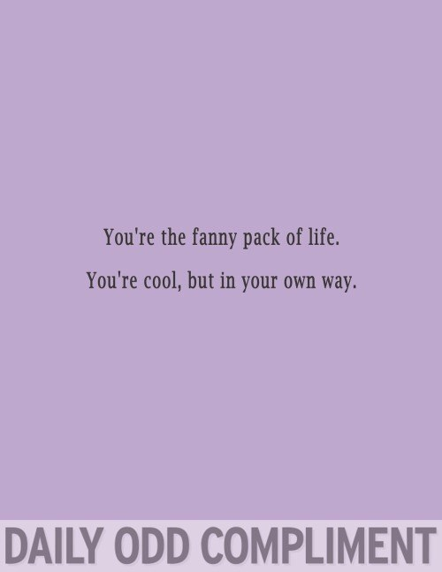 Text - You're the fanny pack of life. You're cool, but in your own way. DAILY ODD COMPLIMENT