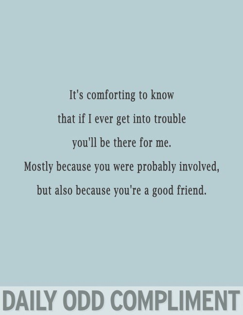 Text - It's comforting to know that if I ever get into trouble you'll be there for me. Mostly because you were probably involved, but also because you're a good friend. DAILY ODD COMPLIMENT