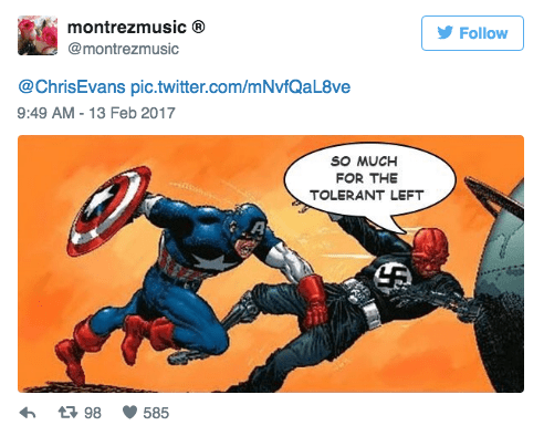 Fictional character - montrezmusic Follow @montrezmusic @ChrisEvans pic.twitter.com/mNvfQaL8ve 9:49 AM - 13 Feb 2017 sO MUCH FOR THE TOLERANT LEFT 98 585
