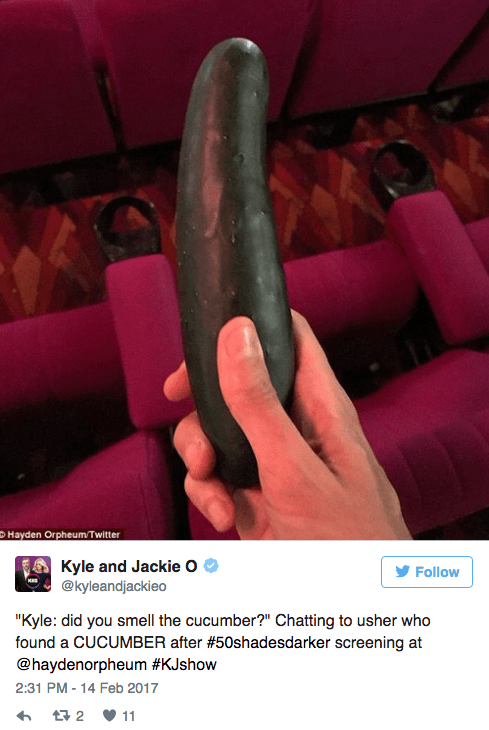 """Hand - Hayden OrpheumTwitter Kyle and Jackie O @kyleandjackieo Follow """"Kyle: did you smell the cucumber?"""" Chatting to usher who found a CUCUMBER after #50shadesdarker screening at @haydenorpheum #KJshow 2:31 PM -14 Feb 2017 t 2 11"""