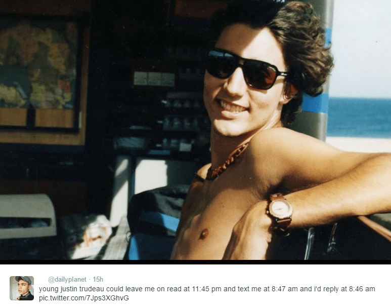 Eyewear - @dailyplanet 15h young justin trudeau could leave me on read at 11:45 pm and text me at 8:47 am and i'd reply at 8:46 am pic.twitter.com/7Jps3XGhvG
