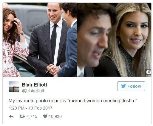 "Product - Blair Elliott Follow @blairelliott My favourite photo genre is ""married women meeting Justin."" 1:29 PM 13 Feb 2017 4,715 10,930"