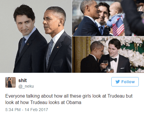 Facial expression - shit Follow @_neku Everyone talking about how all these girls look at Trudeau but look at how Trudeau looks at Obama 5:34 PM - 14 Feb 2017