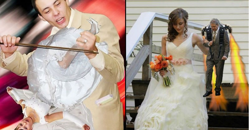 russian weddings, funny photoshops, wedding photos, groom playing his bride like a violin, man in a jet pack next to a bride