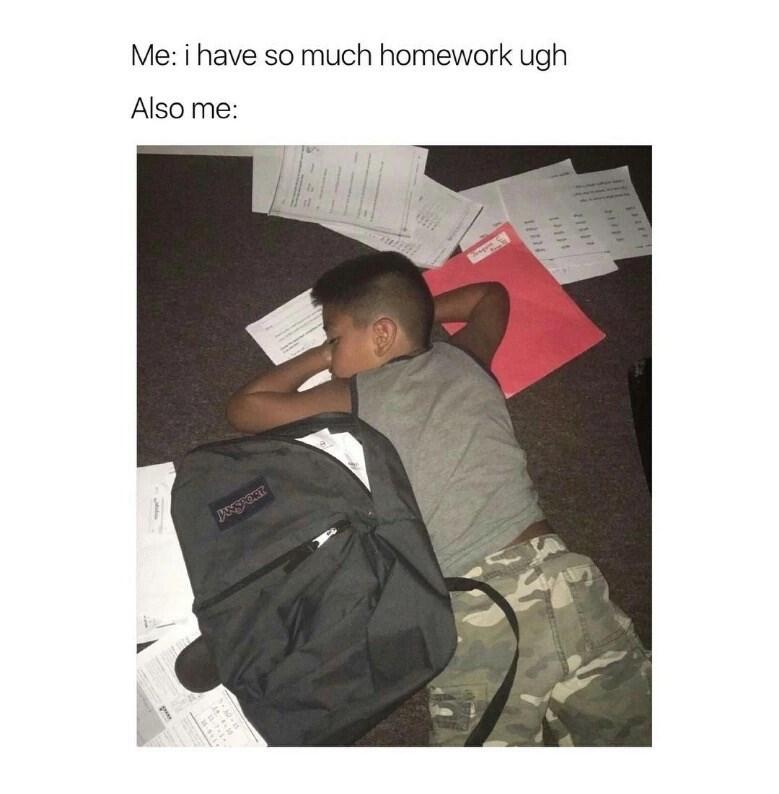 Text - Me: i have so much homework ugh Also me: JANSKORT 1 111 16-51