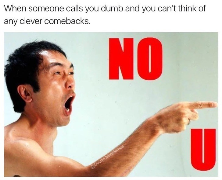 Text - When someone calls you dumb and you can't think of any clever comebacks. NO @OverlyUsedMemes