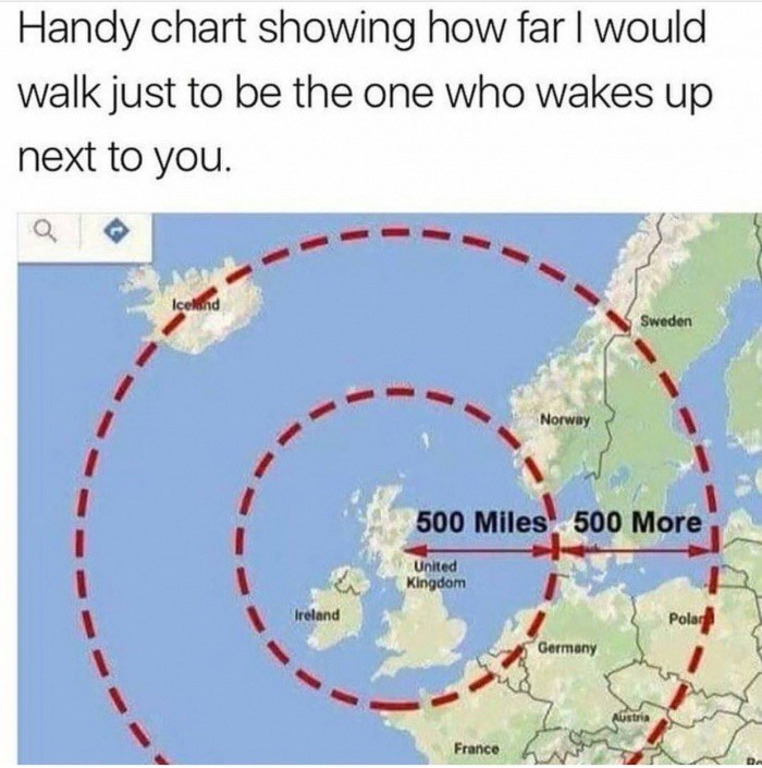 Text - Handy chart showing how far I would walk just to be the one who wakes up next to you. Icend Sweden Norway 500 Miles 500 More United Kingdom Ireland Pola Germany AUstria France