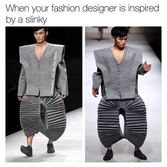 Clothing - When your fashion designer is inspired by a slinky @coolest kidon the block