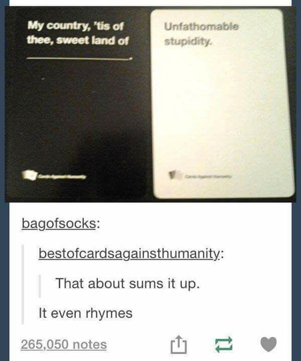 Text - My country, tis of thee, sweet land of Unfathomable stupidity. bagofsocks: bestofcardsagainsthumanity: That about sums it up It even rhymes 265,050 notes 11