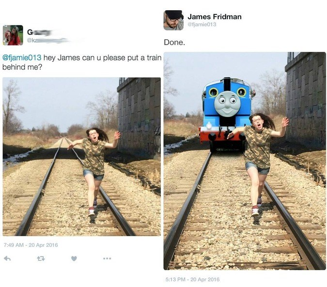 Transport - James Fridman efjamie013 G @ka Done. @fjamie013 hey James can u please put a train behind me? 7:49 AM 20 Apr 2016 7 5:13 PM 20 Apr 2016