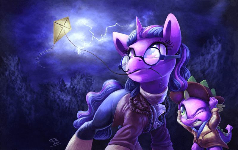 spike,Benjamin Franklin,twilight sparkle,ponify