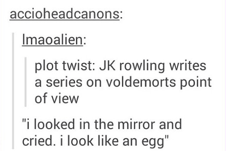 """Text - accioheadcanons: Imaoalien: plot twist: JK rowling writes a series on voldemorts point of view """"i looked in the mirror and cried. i look like an egg"""""""